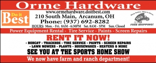 Power Equipment Rental, Tire Service, Paints, Screen Repairs