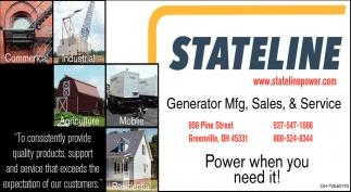 Generator Mfg, Sales, & Service